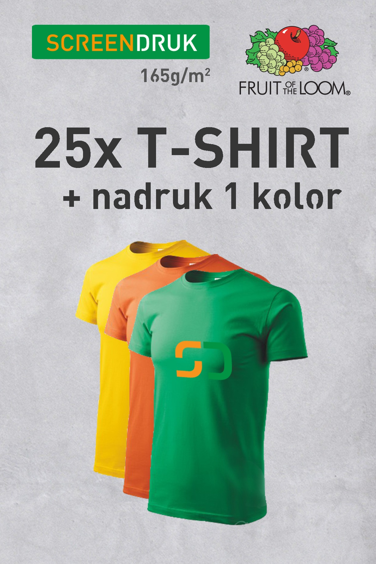 25szt. Kolorowy T-shirt FRUIT OF THE LOOM 165g + nadruk 1 kolor